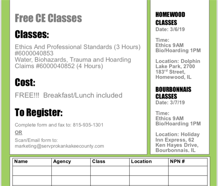 Why SERVPRO FREE CE Classes this March 2019!!
