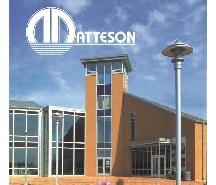 Matteson Village building with the words Matteson written as well