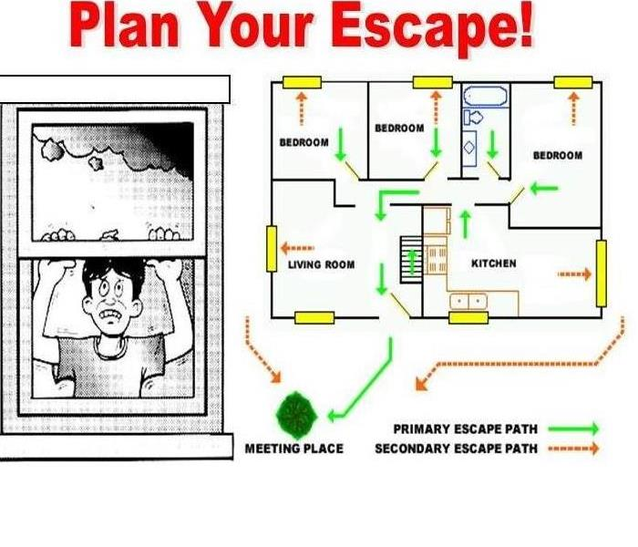 Picture of a house plan with an escape route